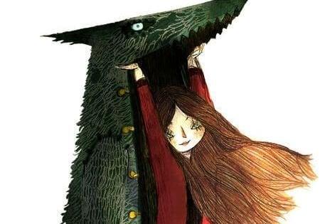 Meisje dat een wolvenpak over zich heen trekt