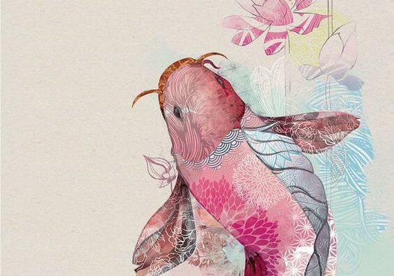 Een Roze Vis Met Bloemen Op Zijn Lichaam
