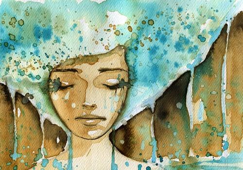 Vrouw met blauw haar die huilt maar waar tranen zijn, daar is hoop