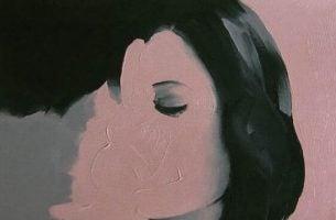Schilderij van twee gezichten die in elkaar overgaan