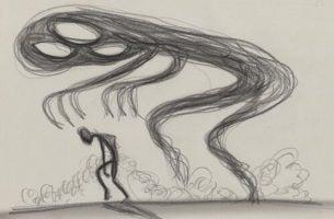 Tekening van een enge schim die boven iemands hoofd hangt