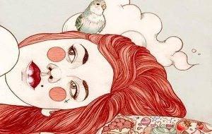 Meisje met rood haar en een vogeltje op haar hoofd ligt bedroefd voor zich uit te kijken omdat haar serotonineniveau te laag is