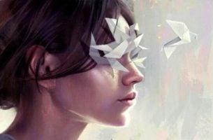 Vrouw met haar ogen dicht en uit haar ogen komen gevouwen vogeltjes want iemand negeren kan soms erg hard zijn