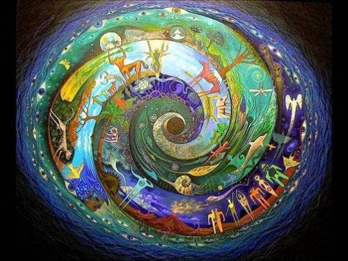 Kleurrijke afbeelding van de kringloop van het leven