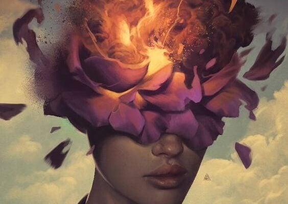 Vrouw wiens hoofd langzaam ontploft van de giftige gewoonten die ons ongelukkig maken