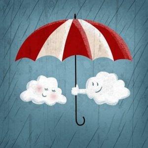 Twee Wolkjes Samen Onder Een Paraplu