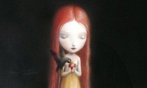 Meisje dat een vogel van haar hart laat eten als voorbeeld van giftige kinderen