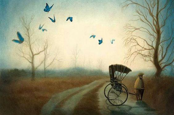 Een Man Die In Zijn Eentje Met Een Karretje Op Een Verlaten Weg Staat En Geen Innerlijke Rust Ervaart Omdat Hij Niet Weet Of Hij De Juiste Keuze Heeft Gemaakt