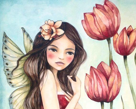 Vrouw Met Vleugels Tussen De Bloemen