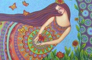 Vrouw Omringd Door Vlinders En Kleurrijke Natuur Die Weet Dat In Jezelf Geloven Belangrijk Is