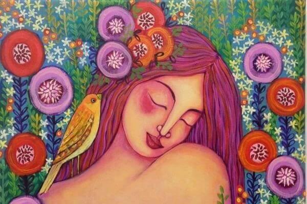 Vrouw En Vogel Omringd Door Bloemen, Iemand Die Weet Hoe Ze Moet Vliegen