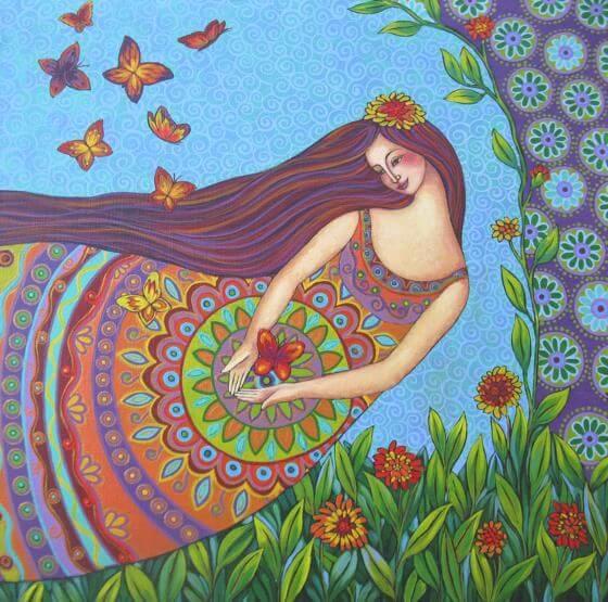 Vrouw Omringd Door Kleurrijke Natuur, Ze Is Iemand Die Weet Hoe Je Moet Vliegen