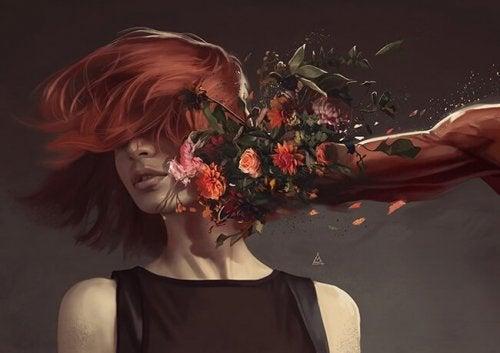 Vrouw die een stoot voor haar kop krijgt van een man die bloemen als vuist heeft
