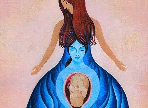 Vrouw Met Een Zwangere Vrouw In Zich En Die Moet Binnenkort Een Kind Baren