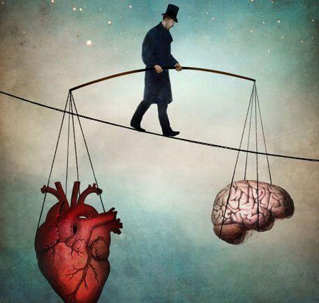 Een Man Die Op Een Touw Loopt In Zijn Hart En Hersenen In Balans Moet Zien Te Houden Om De Juiste Keuze Te Kunnen Maken En Innerlijke Rust Te Ervaren