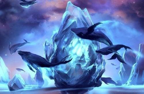 Walvissen die door de ijzige lucht zweven als voorbeeld van hoe optimistische mensen zijn