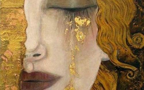 Vrouw met gouden tranen maar waar tranen zijn, daar is hoop