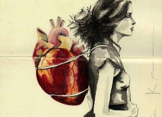 Een meisje dat haar hart op haar rug draagt want ze weet niet wat de kunst van het loslaten inhoudt