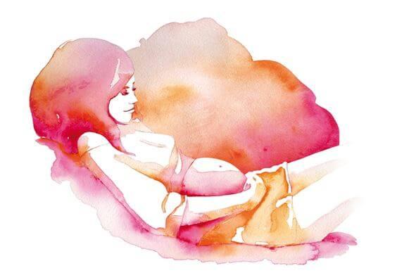 Schilderij Van Een Zwangere Vrouw En Die Moet Binnenkort Een Kind Baren