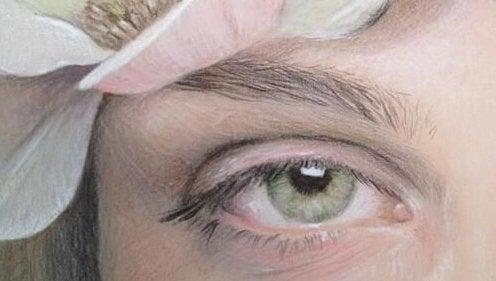 Het groene oog van een meisje dat last heeft van afhankelijke persoonlijkheidsstoornis