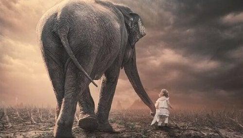 Klein meisje dat de slurf van een olifant vasthoudt en samen met hem door een verdord landschap loopt