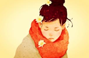 Eenzaam meisje met een oranje sjaal, maar het is niet erg, want eenzaamheid beschermt ons