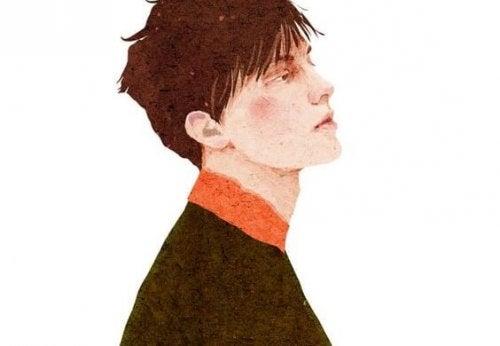Eenzame jongen die voor zich uit kijkt, maar het maakt niet uit, want eenzaamheid beschermt ons