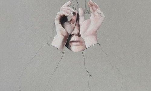 Tekening van een meisje dat haar handen voor haar gezicht houdt omdat ze geen goede mentale gezondheid heeft