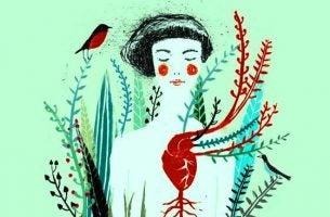 Meisje wiens hart zichtbaar is en waar allemaal planten uitgroeien want het hart weet zoveel