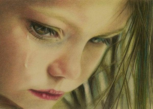 Meisje dat huilt omdat zij slachtoffer is geworden van kindermisbruik