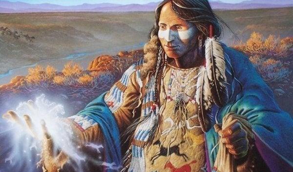 Indiaan die een spreuk uitspreekt vanwege de sioux-legende over relaties