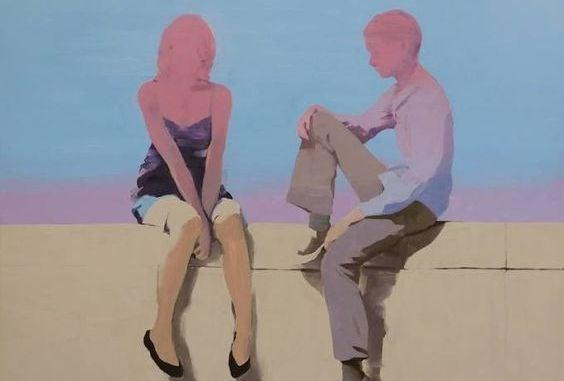 Wazig beeld van een jongen en een meisje die met elkaar praten vanwege de halsstarrigheid van liefde