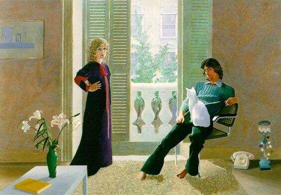 Een man en een vrouw die samen in een kamer staan maar toch is er vanwege de halsstarrigheid van liefde afstandelijkheid tussen hen te merken