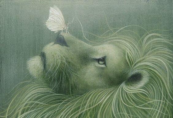 Leeuw en vlinder.