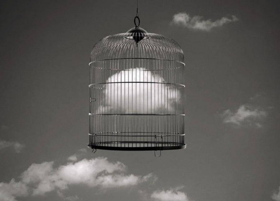 Een lege vogelkooi die in de lucht hangt
