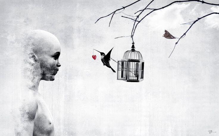 Meisje kijkt naar hoe vogel uit vogelkooi ontsnapt.