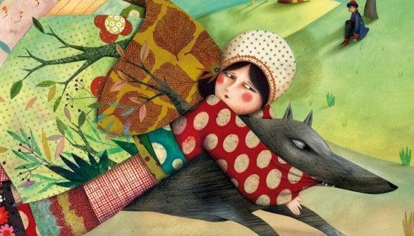 Meisje houdt vast aan boze wolf als symbool voor verbitterd zijn.