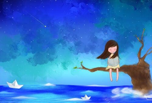 Meisje dat geniet van alleen zijn, als voorbeeld van de dingen die intuïtieve mensen anders doen