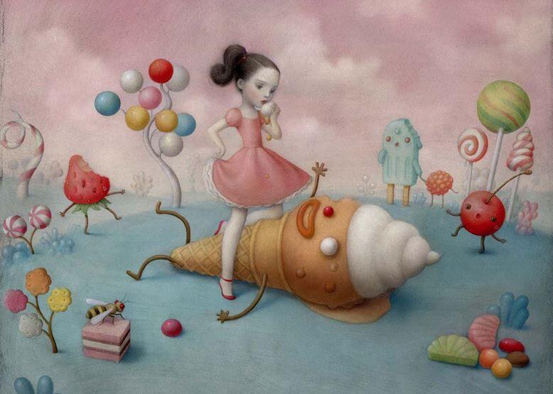 Meisje bevindt zich in een snoeplandschap, in het thema van emotie-eten.