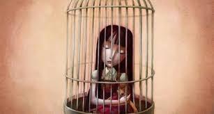 Meisje zit in kooi als symbool voor de gevangenis van emotie-eten.