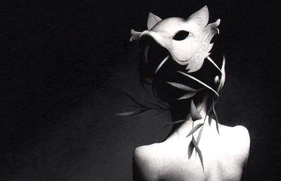 Meisje verschuilt zich achter een masker als symbool voor mensen die verbitterd zijn.