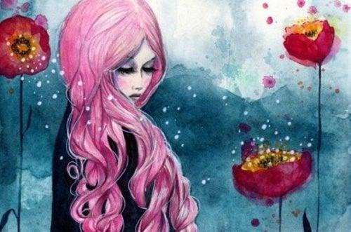 Meisje met roze haar dat tussen de klaprozen staat