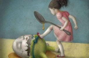 Meisje schopt ei om en maakt hem stuk als symbool voor emotie-eten.