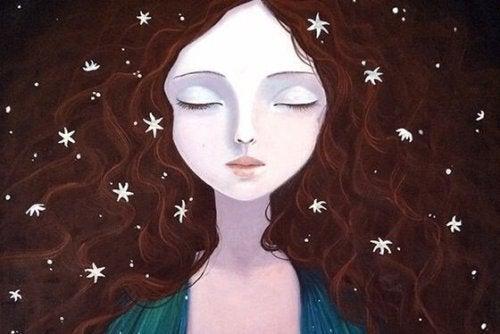 Meisje met allemaal kleine sterretjes in haar haar want zo kan zij eenzaamheid voorkomen