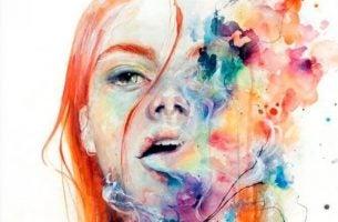 Meisje dat haar gevoelens uit door de woorden te laten stromen.