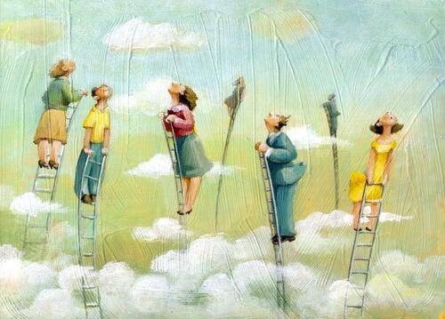 Mensen die hoog in de wolken op een ladder staan