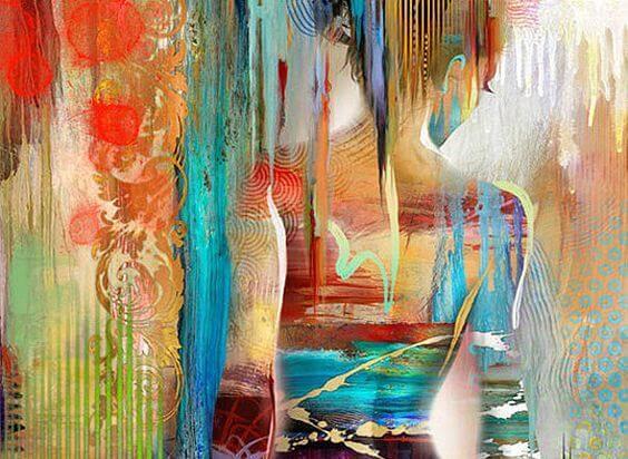 Kleurrijk schilderij van de rug van een vrouw