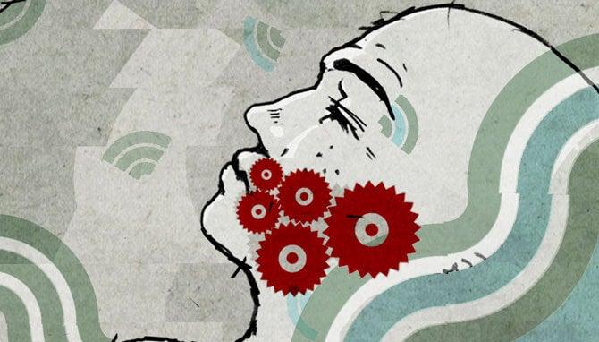 Afbeelding van een hoofd met schroeven in de kaak als symbool voor bruxisme