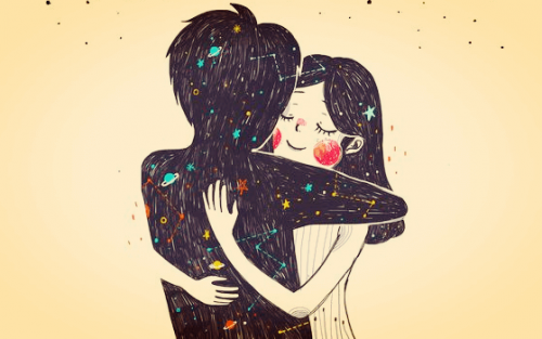 Knuffelend stel dat tegen elkaar zegt: ik ben verliefd op je