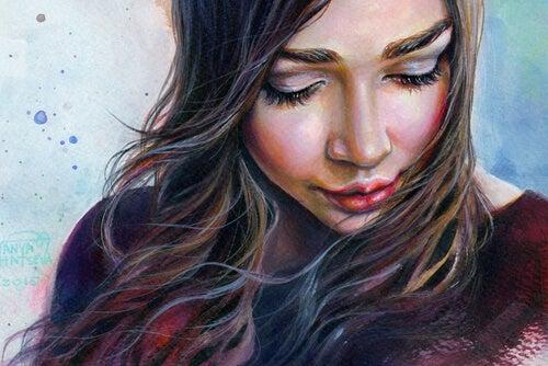 Sterke vrouw met rode lippen denkt na over moed en leed